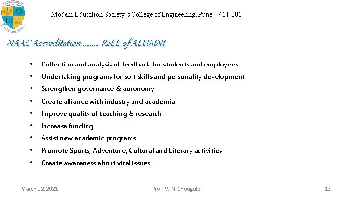 Modern Education Society's College of Engineering, Pune – 411 001 NAAC Accreditation ……… Ro.