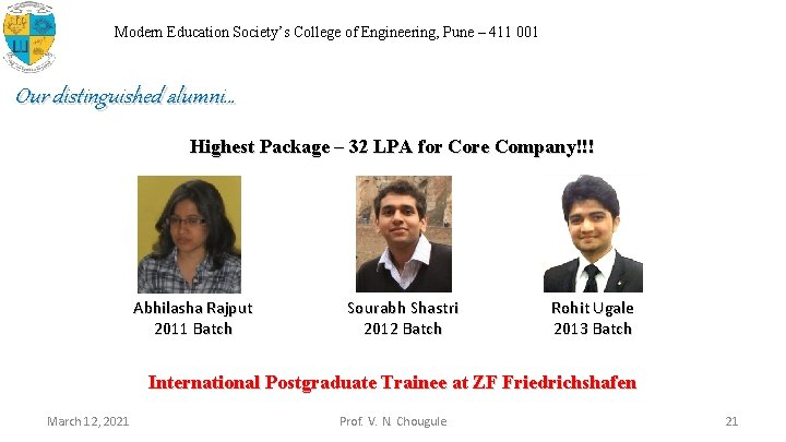Modern Education Society's College of Engineering, Pune – 411 001 Our distinguished alumni… Highest