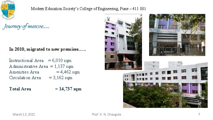 Modern Education Society's College of Engineering, Pune – 411 001 Journey of mescoe…… In