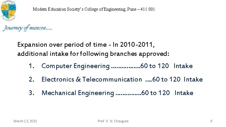 Modern Education Society's College of Engineering, Pune – 411 001 Journey of mescoe…… Expansion