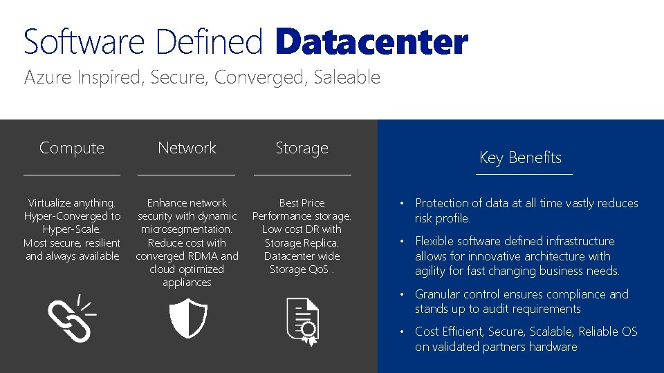 Software Defined Datacenter Azure Inspired, Secure, Converged, Saleable Compute Network Storage Virtualize anything. Hyper-Converged