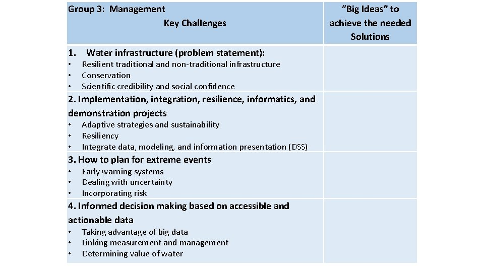 Group 3: Management Key Challenges 1. Water infrastructure (problem statement): • • • Early