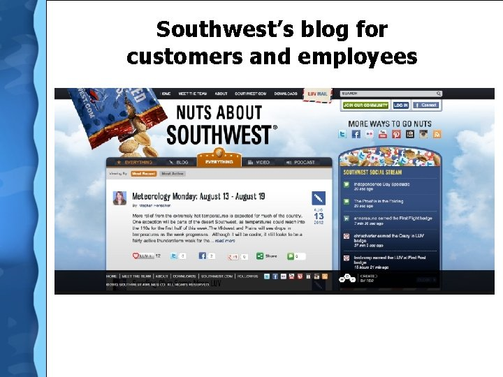 Southwest's blog for customers and employees