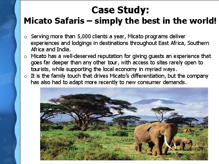 Case Study: Micato Safaris – simply the best in the world! o Serving more
