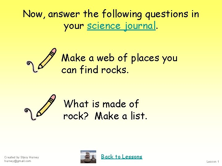 Now, answer the following questions in your science journal. Make a web of places