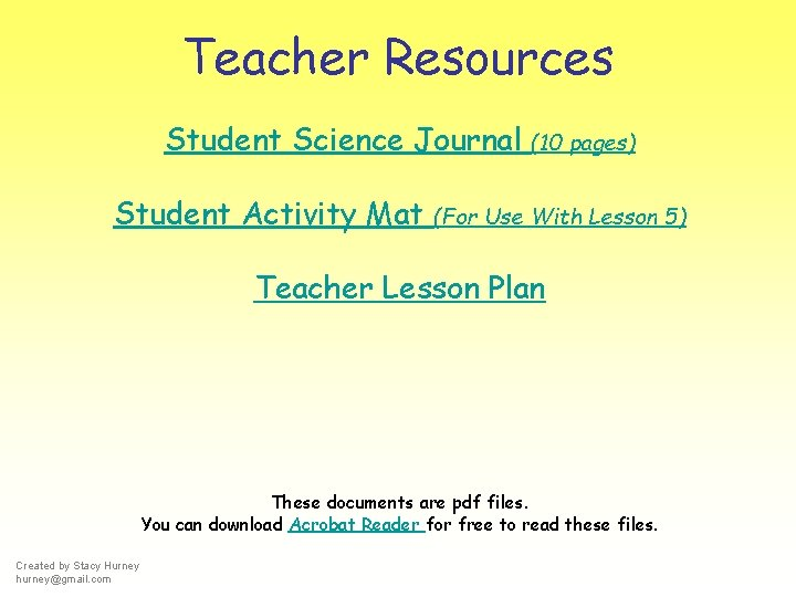 Teacher Resources Student Science Journal Student Activity Mat (10 pages) (For Use With Lesson