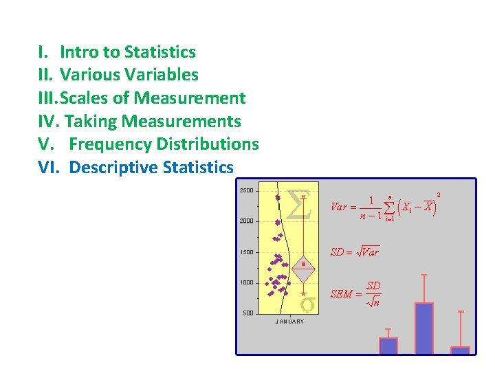 I. Intro to Statistics II. Various Variables III. Scales of Measurement IV. Taking Measurements