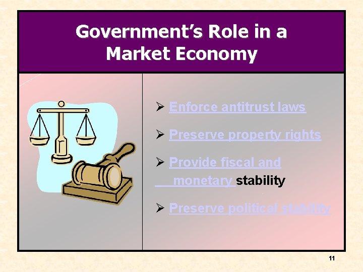 Government's Role in a Market Economy Ø Enforce antitrust laws Ø Preserve property rights