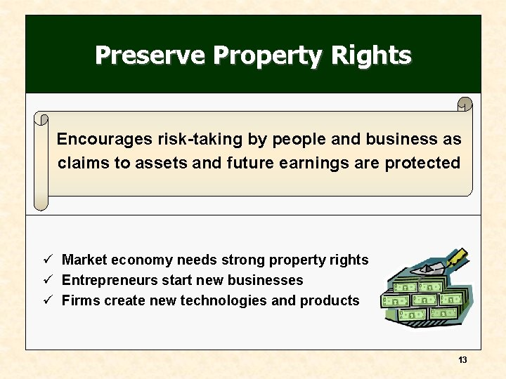 Preserve Property Rights Encourages risk-taking by people and business as claims to assets and