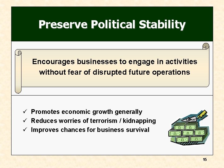 Preserve Political Stability Encourages businesses to engage in activities without fear of disrupted future