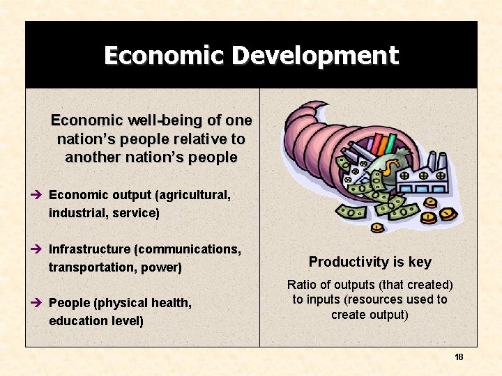 Economic Development Economic well-being of one nation's people relative to another nation's people è