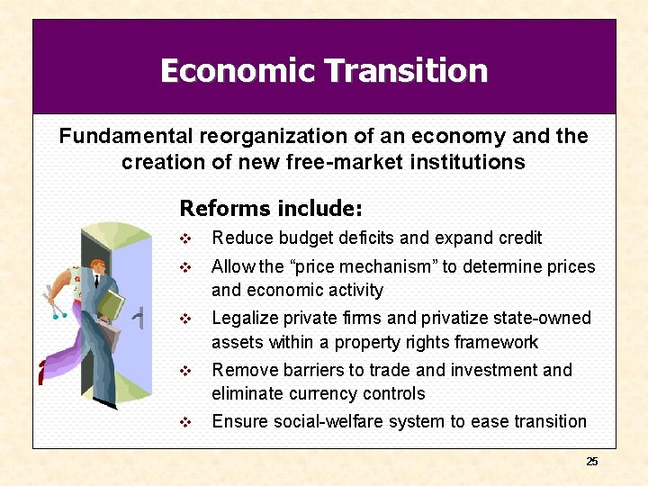Economic Transition Fundamental reorganization of an economy and the creation of new free-market institutions