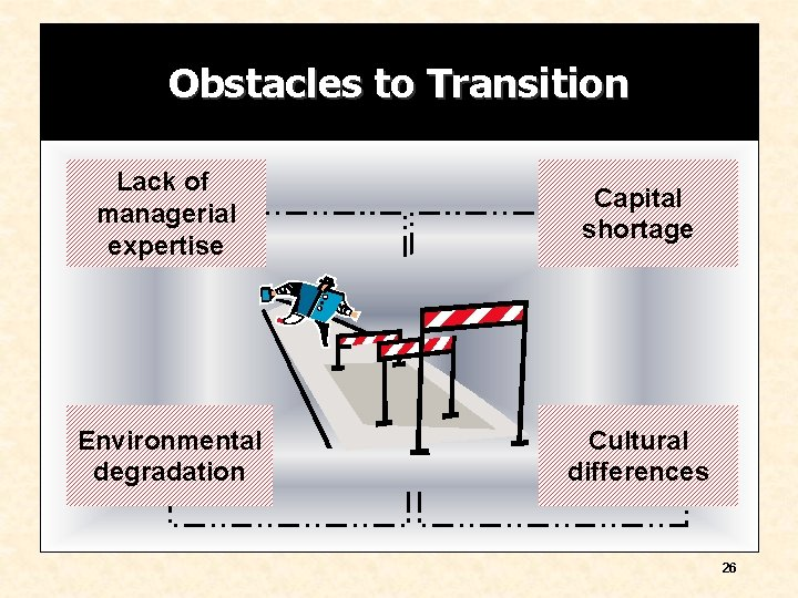 Obstacles to Transition Lack of managerial expertise Capital shortage Environmental degradation Cultural differences 26
