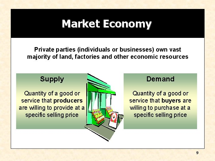 Market Economy Private parties (individuals or businesses) own vast majority of land, factories and