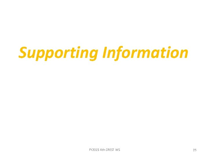Supporting Information FY 2015 4 th CREST WS 25
