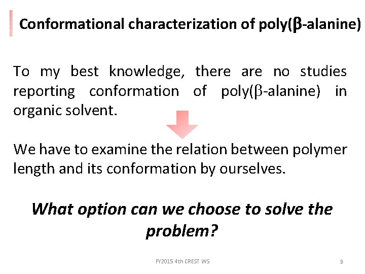 Conformational characterization of poly(b-alanine) To my best knowledge, there are no studies reporting conformation