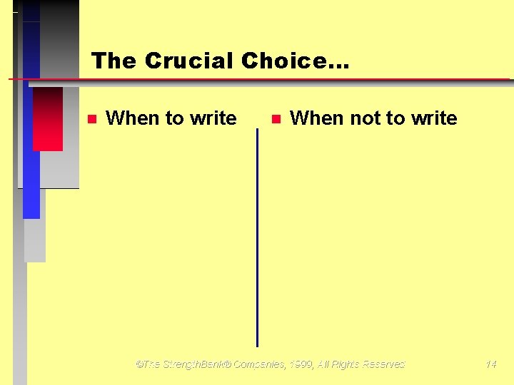 The Crucial Choice… When to write When not to write ©The Strength. Bank® Companies,