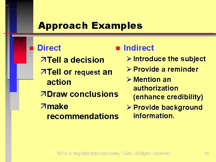 Approach Examples Direct äTell a decision äTell or request an action äDraw conclusions ämake