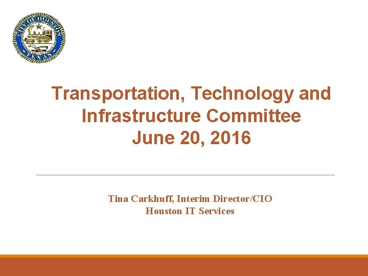 Transportation, Technology and Infrastructure Committee June 20, 2016 Tina Carkhuff, Interim Director/CIO Houston IT