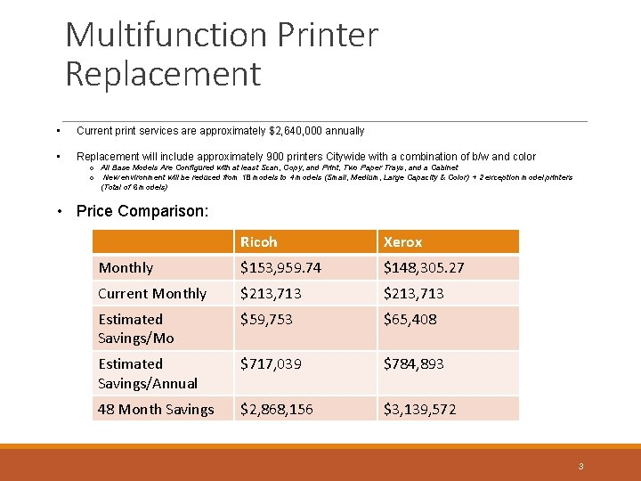 Multifunction Printer Replacement • Current print services are approximately $2, 640, 000 annually •