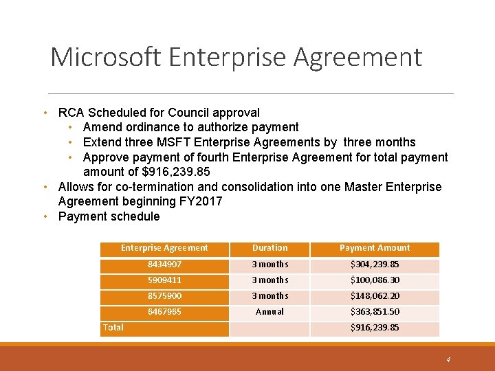 Microsoft Enterprise Agreement • RCA Scheduled for Council approval • Amend ordinance to authorize