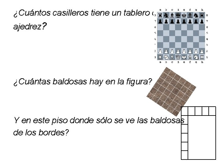 ¿Cuántos casilleros tiene un tablero de ajedrez? ¿Cuántas baldosas hay en la figura? Y