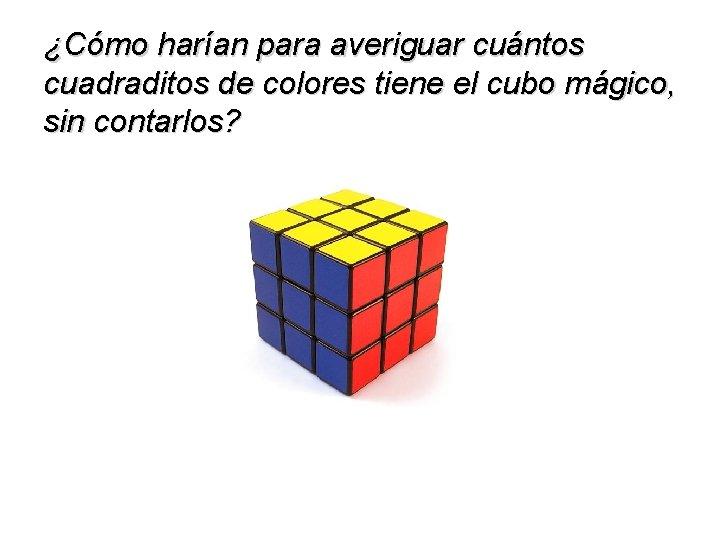¿Cómo harían para averiguar cuántos cuadraditos de colores tiene el cubo mágico, sin contarlos?