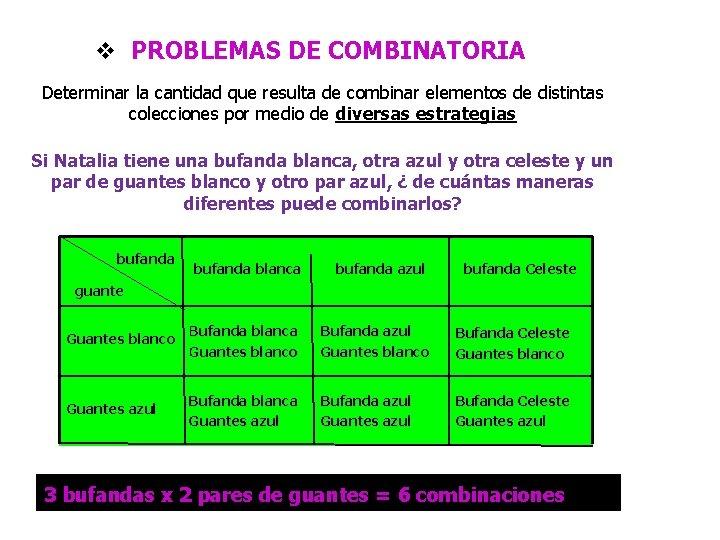 v PROBLEMAS DE COMBINATORIA Determinar la cantidad que resulta de combinar elementos de distintas
