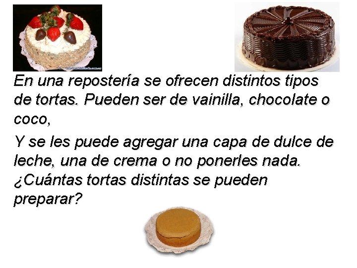 En una repostería se ofrecen distintos tipos de tortas. Pueden ser de vainilla, chocolate