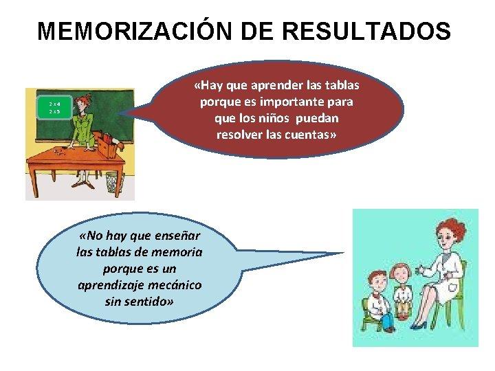 MEMORIZACIÓN DE RESULTADOS 2 x 4 2 x 5 «Hay que aprender las tablas