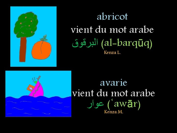 abricot vient du mot arabe ( ﺍﻟﺒﺮﻗﻮﻕ al-barqūq) Kenza L. avarie vient du mot