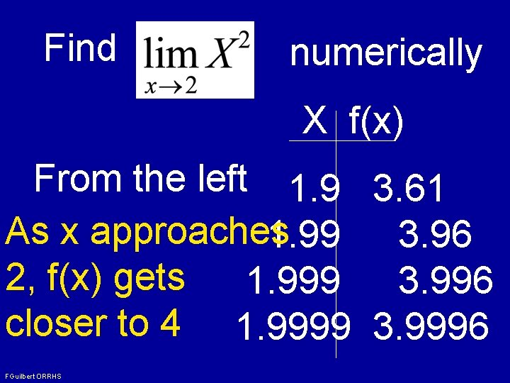 Find numerically X f(x) From the left 1. 9 3. 61 As x approaches
