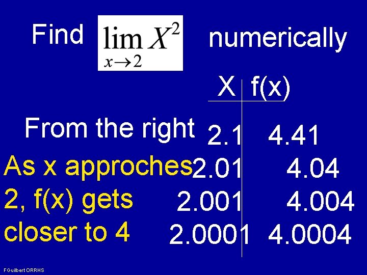 Find numerically X f(x) From the right 2. 1 4. 41 As x approches