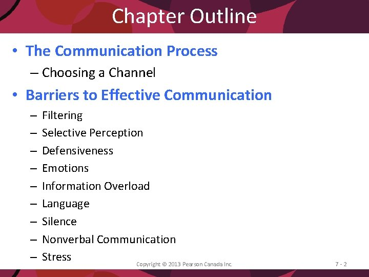 Chapter Outline • The Communication Process – Choosing a Channel • Barriers to Effective
