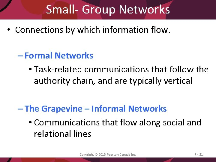 Small- Group Networks • Connections by which information flow. – Formal Networks • Task-related