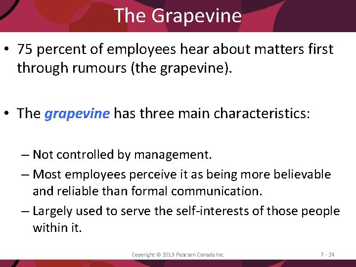 The Grapevine • 75 percent of employees hear about matters first through rumours (the