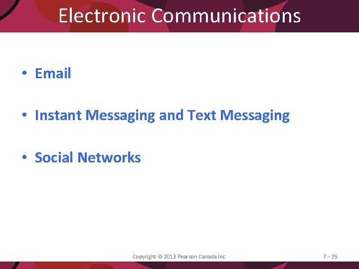 Electronic Communications • Email • Instant Messaging and Text Messaging • Social Networks Copyright