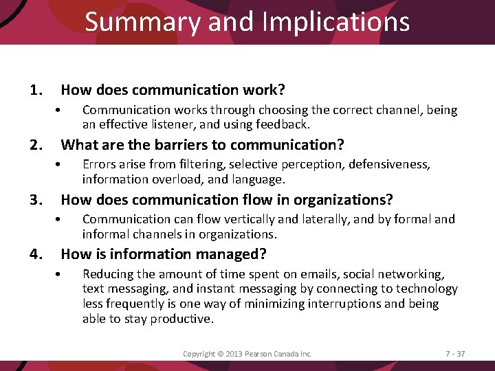 Summary and Implications 1. How does communication work? • 2. What are the barriers