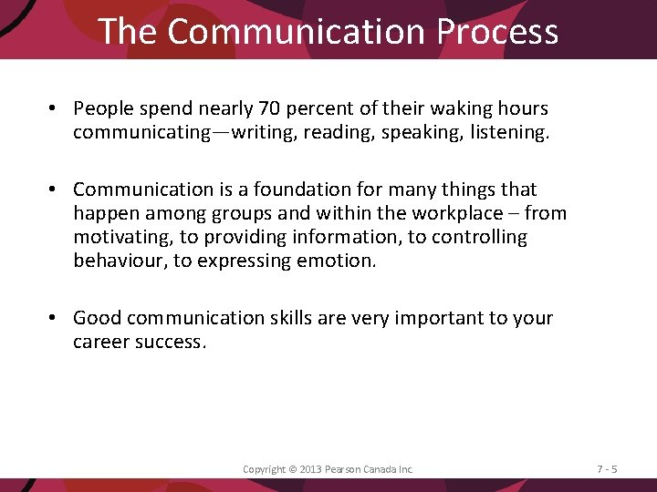 The Communication Process • People spend nearly 70 percent of their waking hours communicating—writing,