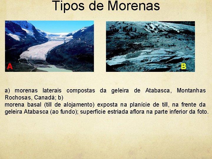 Tipos de Morenas A B a) morenas laterais compostas da geleira de Atabasca, Montanhas
