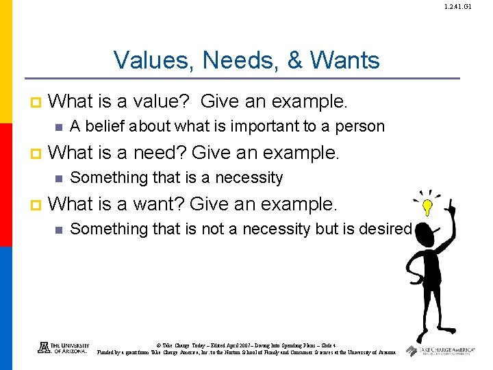 1. 2. 41. G 1 Values, Needs, & Wants p What is a value?