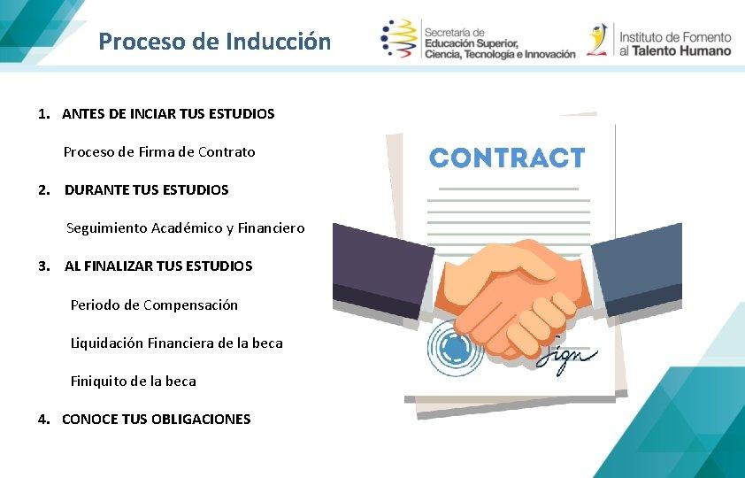 Proceso de Inducción 1. ANTES DE INCIAR TUS ESTUDIOS Proceso de Firma de Contrato