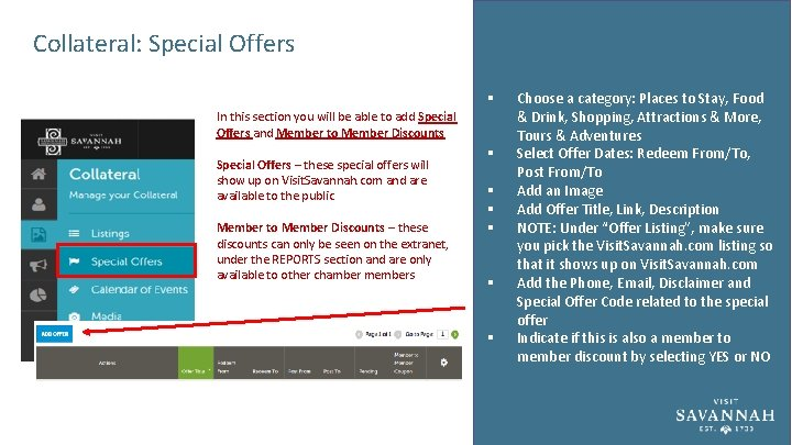 Collateral: Special Offers § In this section you will be able to add Special