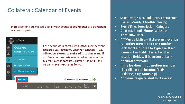 Collateral: Calendar of Events § In this section you will see a list of