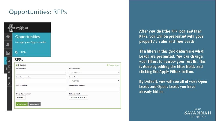 Opportunities: RFPs After you click the RFP icon and then RFPs, you will be