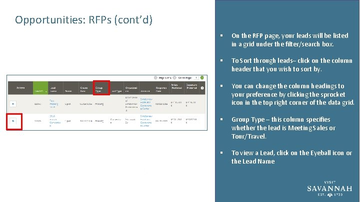 Opportunities: RFPs (cont'd) § On the RFP page, your leads will be listed in