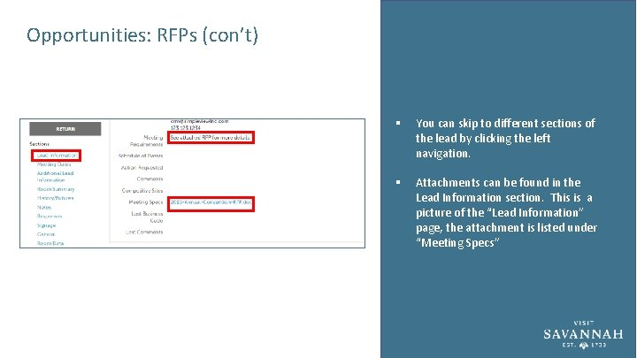 Opportunities: RFPs (con't) § You can skip to different sections of the lead by