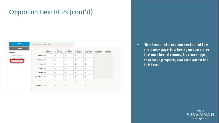 Opportunities: RFPs (cont'd) § The Room Information section of the response page is where
