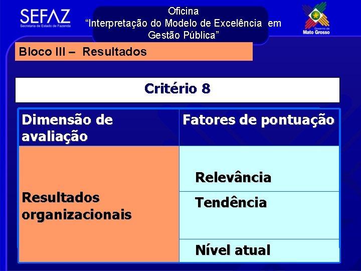 """Oficina """"Interpretação do Modelo de Excelência em Gestão Pública"""" Bloco III – Resultados Critério"""