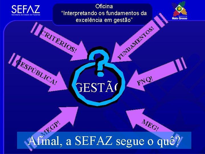 """Oficina """"Interpretando os fundamentos da excelência em gestão"""" CR S! IT ÉR I OS"""